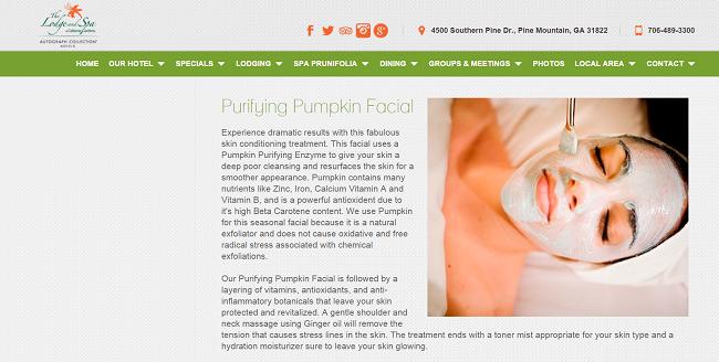 Calloway Lodge purifying pumpkin facial