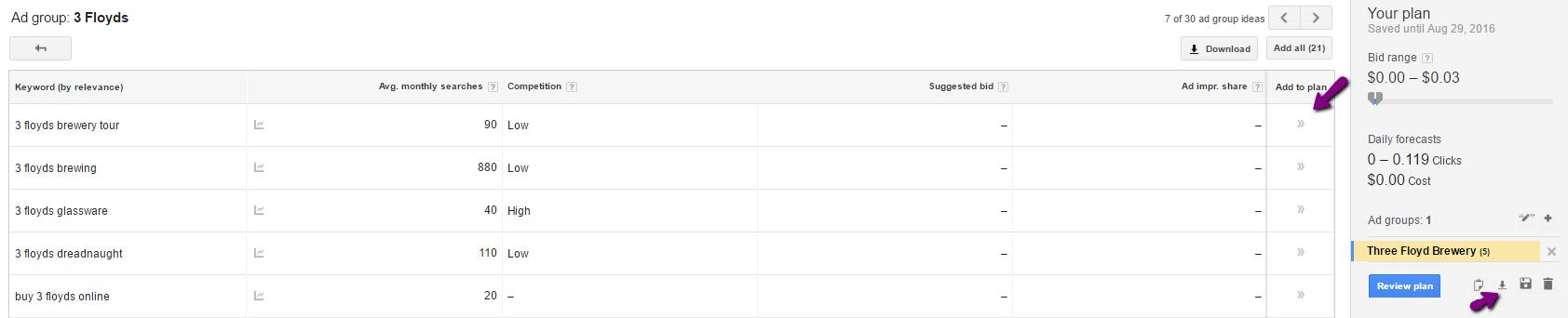 how to create a google adwords keyword plan