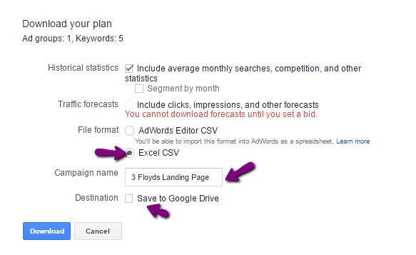 creating a google adwords keyword plan