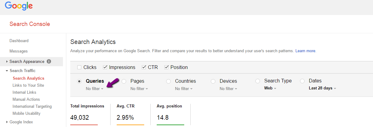 google search console query filters