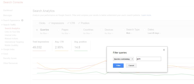 search analytics data filter