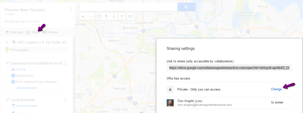 update sharing permissions in google maps