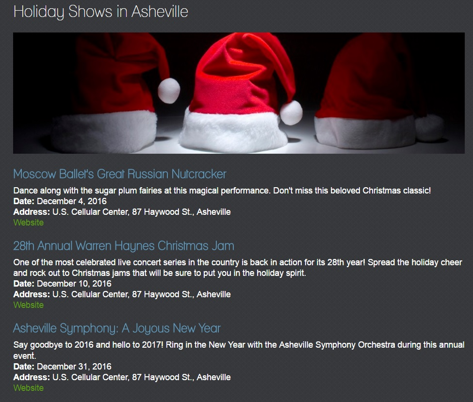 holiday shows example