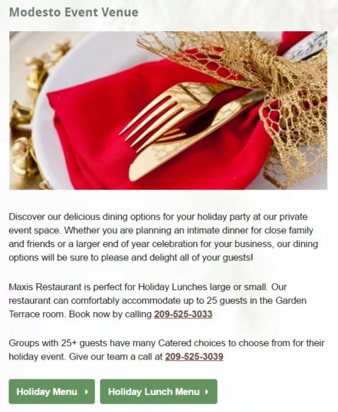 hotel holiday party catering menu example
