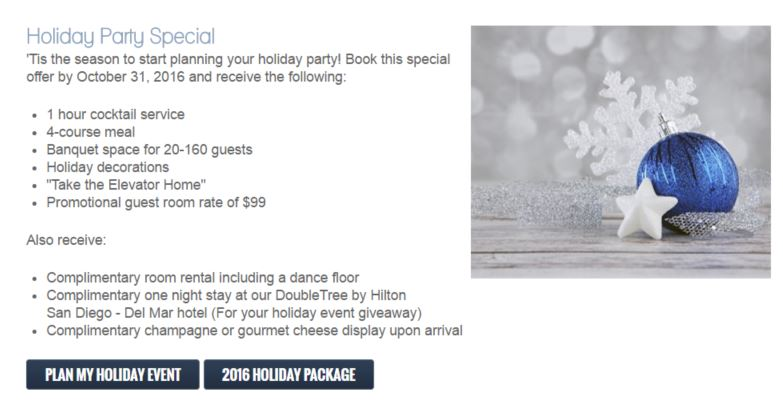 example of a holiday event limited time offer for a hotel