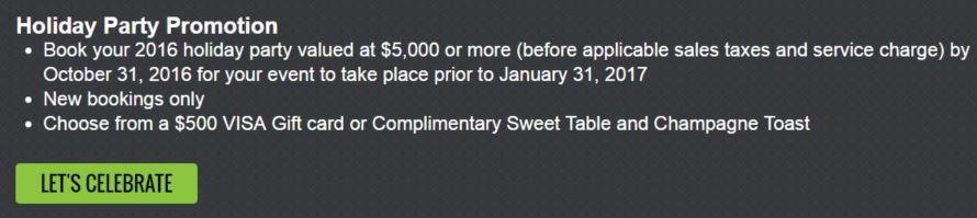 an example of a hotel holiday party promotion
