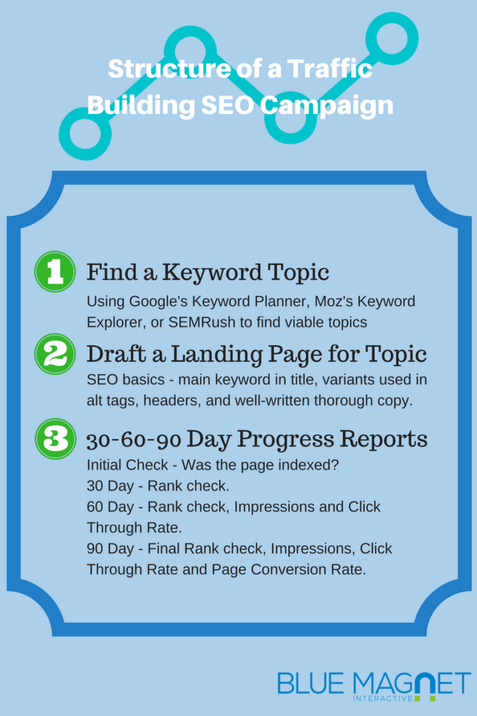 basic structure of a traffic building SEO campaign infographic