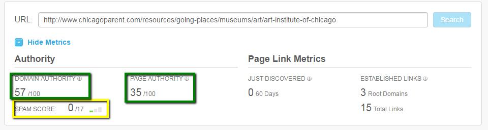 example of the metrics moz's open site explorer provides