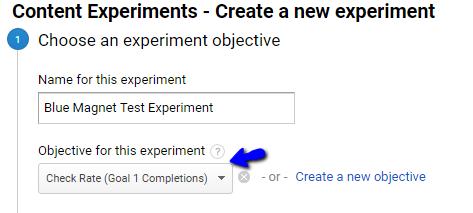 choosing an experiment goal in google analytics