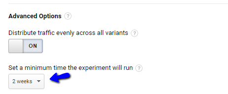 the duration of a google analytics content experiment