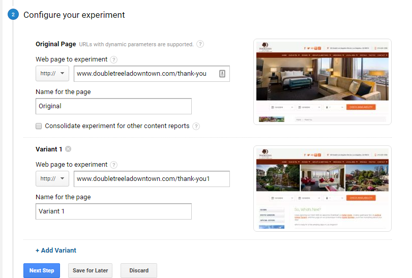 how to configure a google analytics content experiment