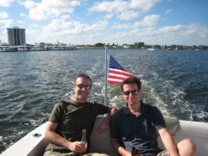 Matt Bitzer and Chris Jones boating on Lake Michigan