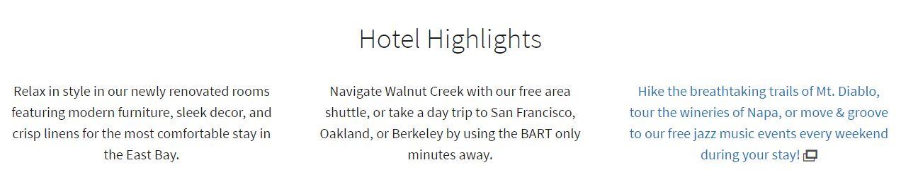 walnut creek marriott hotel highlights