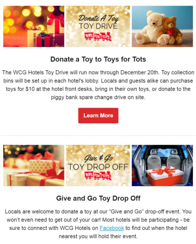 wcg hotel toys for tots collection