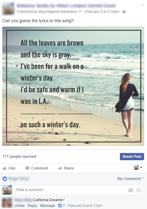 Facebook Lyrics Post