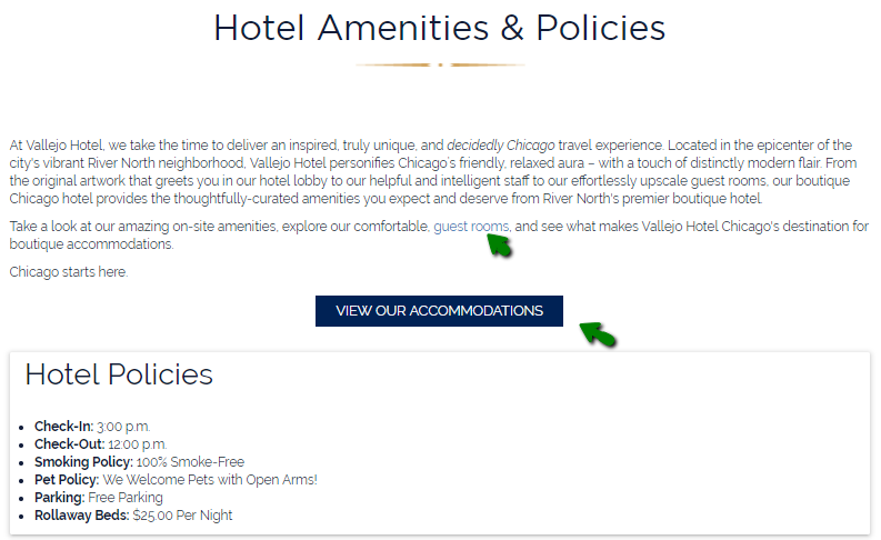 optimized website link from amenities page to conversion funnel