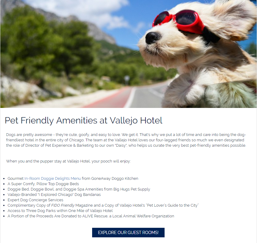 conversion optimized consideration page on hotel website