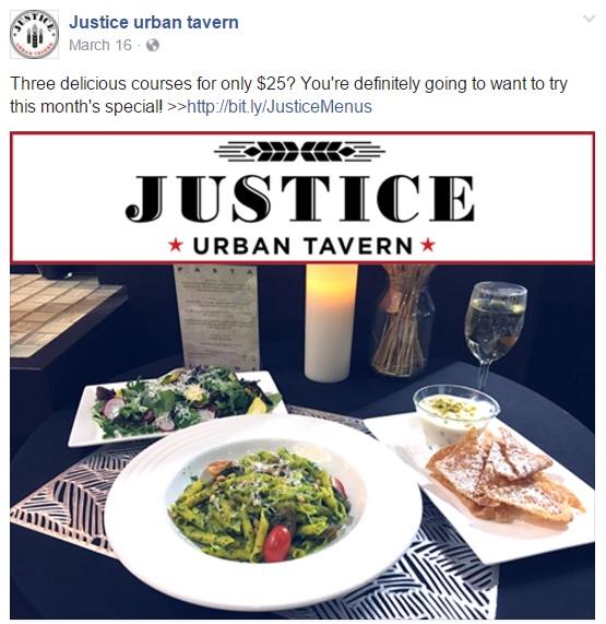 justice urban tavern food facebook post