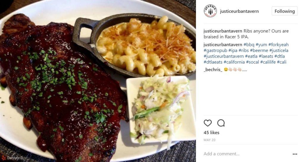 justice urban tavern food instagram post
