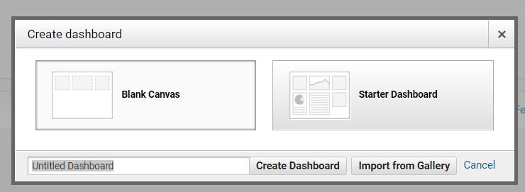 Google Analytics dashboard options