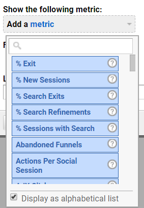 Searching for widgets in Google Analytics