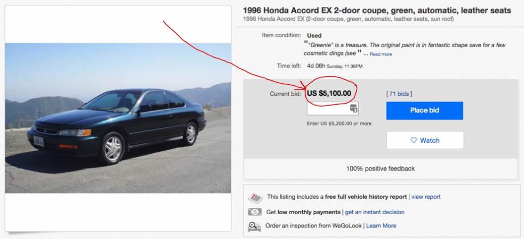 1996 Honday Accord on Ebay