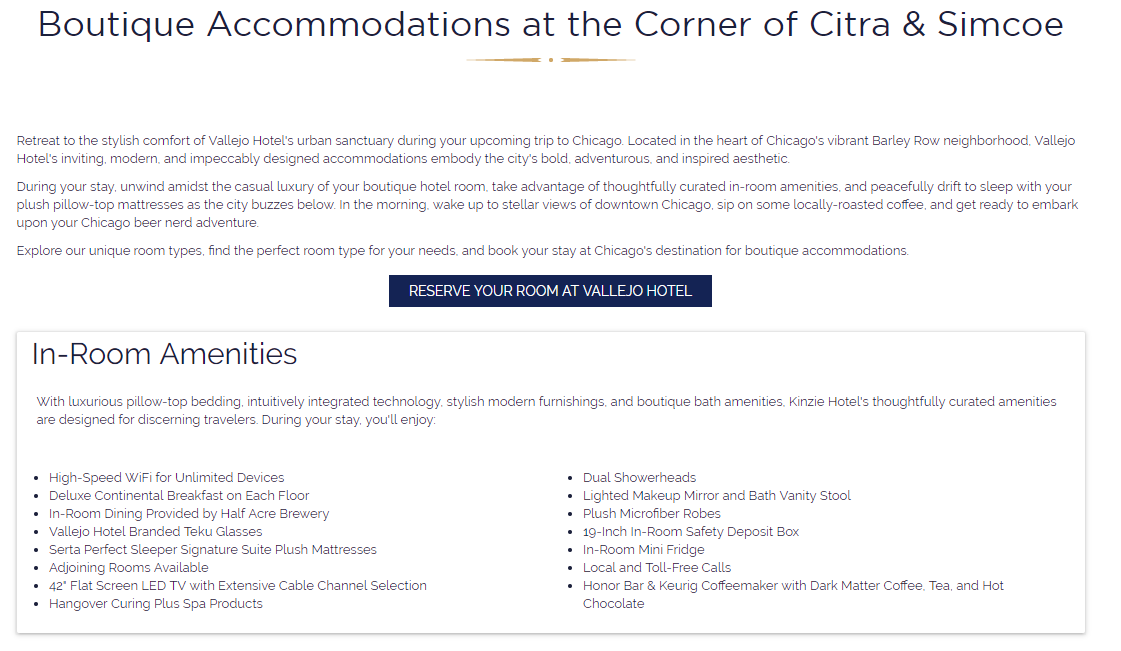 in room amenities list on conversion optimized page
