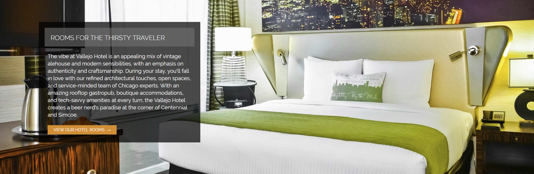 rooms page content on the homepage of a hotel website