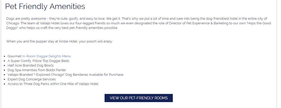 internal link on hotel website to rooms page