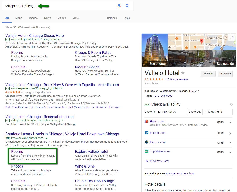 sitelinks for hotel website in google search