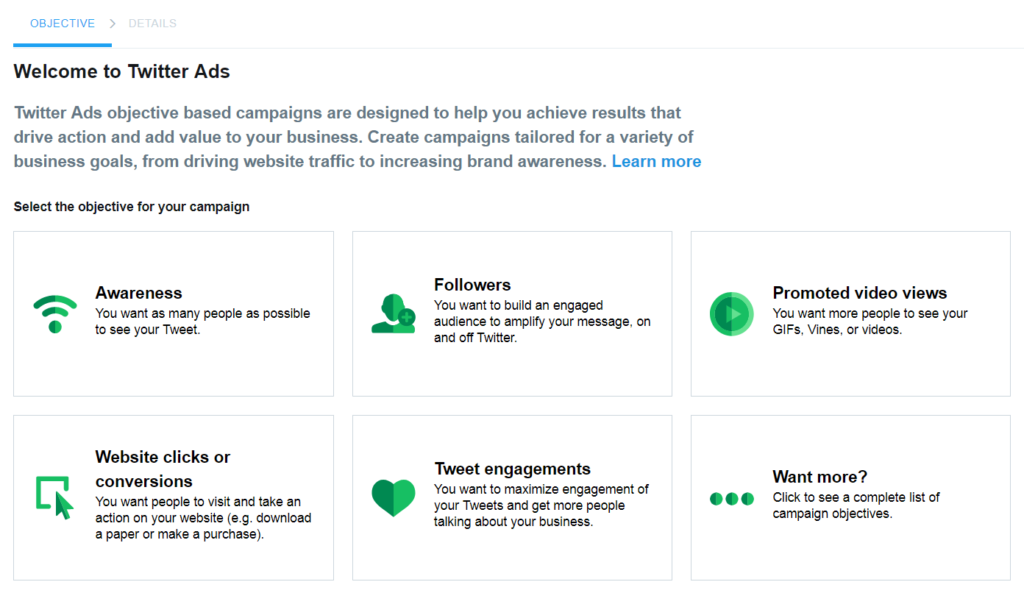 Twitter Campaign Objectives