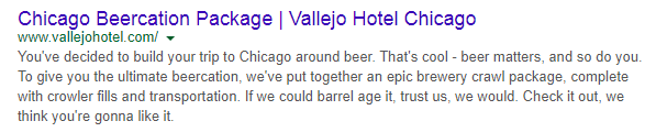 hotel meta description with branded language