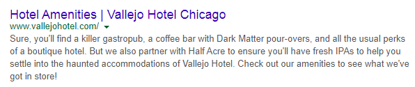 hotel meta description with strong value proposition