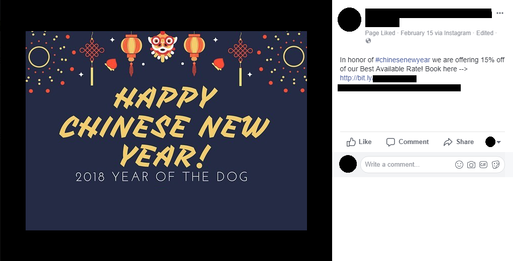 facebook post showing chinese new year deal book here