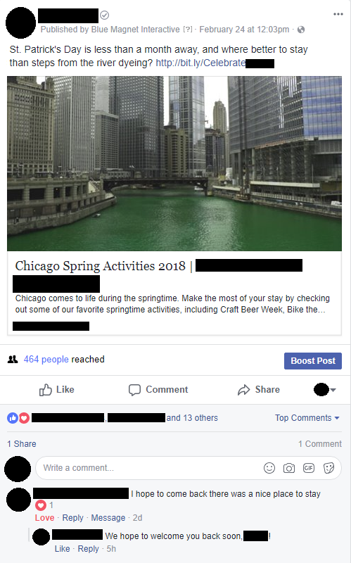 facebook post showing chicago st. patrick's day river dyeing engagement
