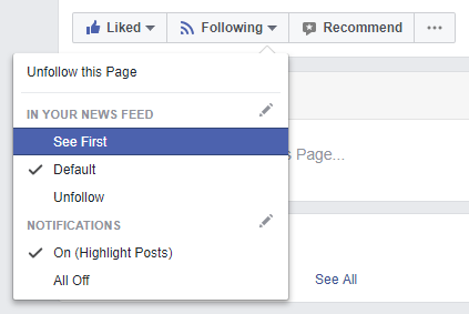 facebook see posts first follow page