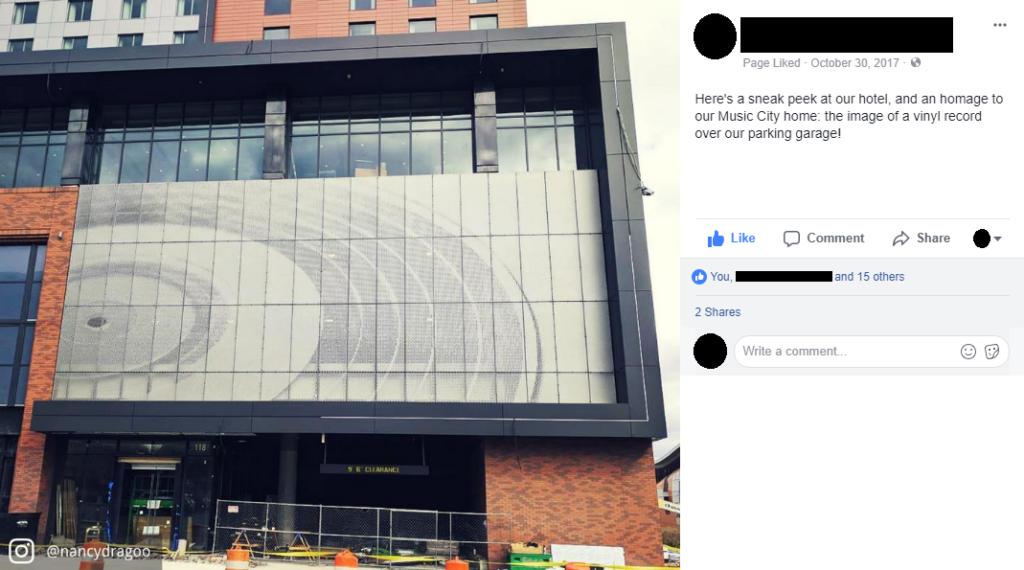 facebook post showing sneak peek of hotel exterior