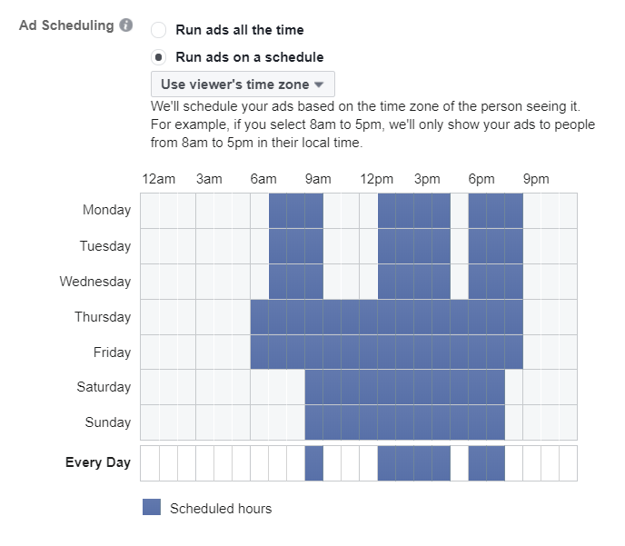 FB Ads set to run on a schedule