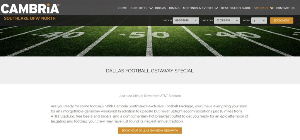 Football Package Landing Page