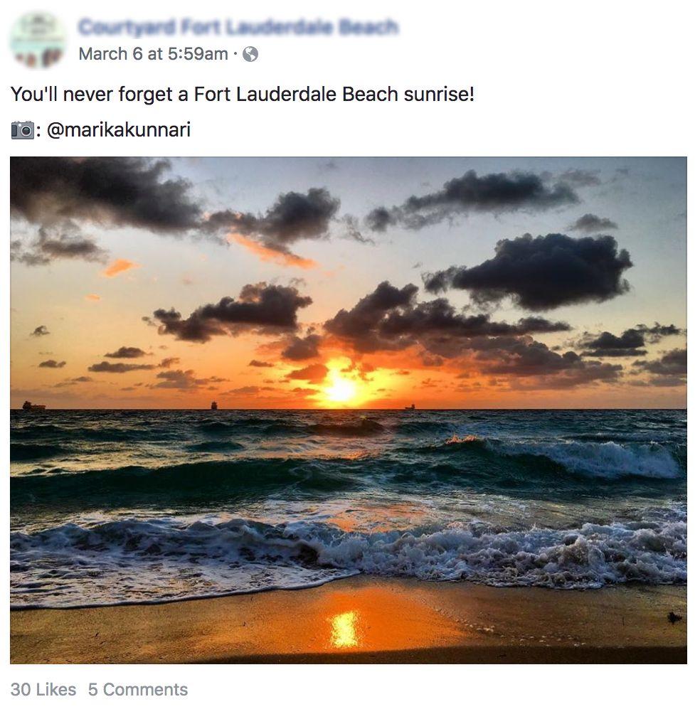 Sunrise Facebook Post