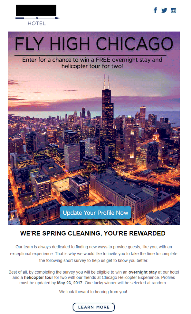 boutique chicago hotel email marketing campaign for additional subscriber profile information