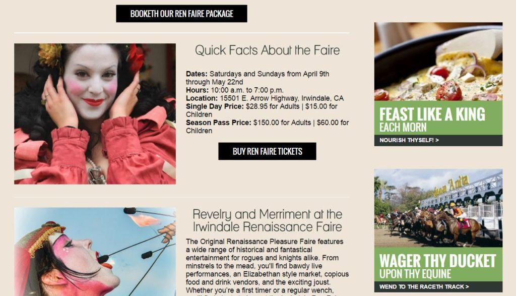 desktop version of renaissance faire page