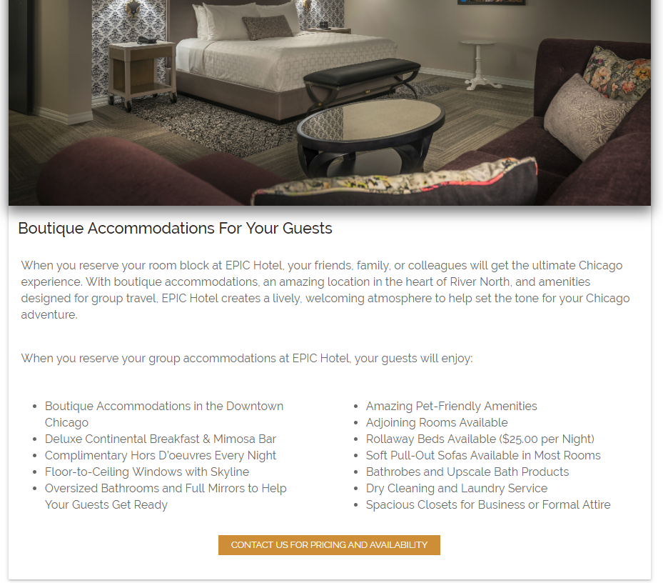 amenities content for hotel groups page
