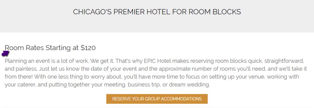 hotel room block starting rate