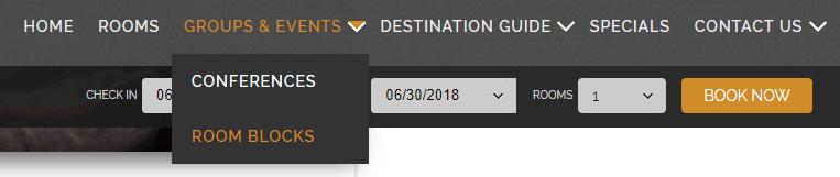 room blocks page in hotel website navigation