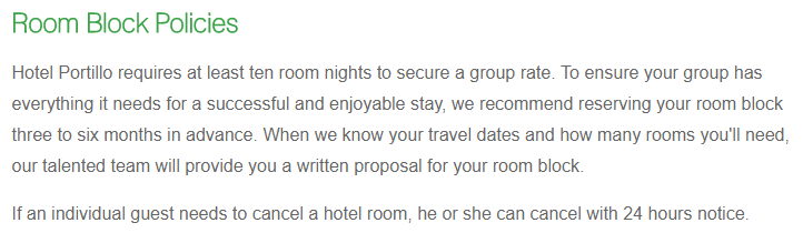 policy section on hotel room block page