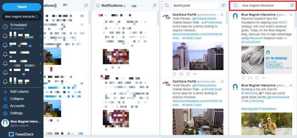 twitter tweetdeck column search