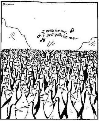 A Far Side cartoon of a singing penguin by Gary Larson