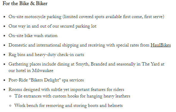 Iron Horse hotel offers special amenities for bikers.