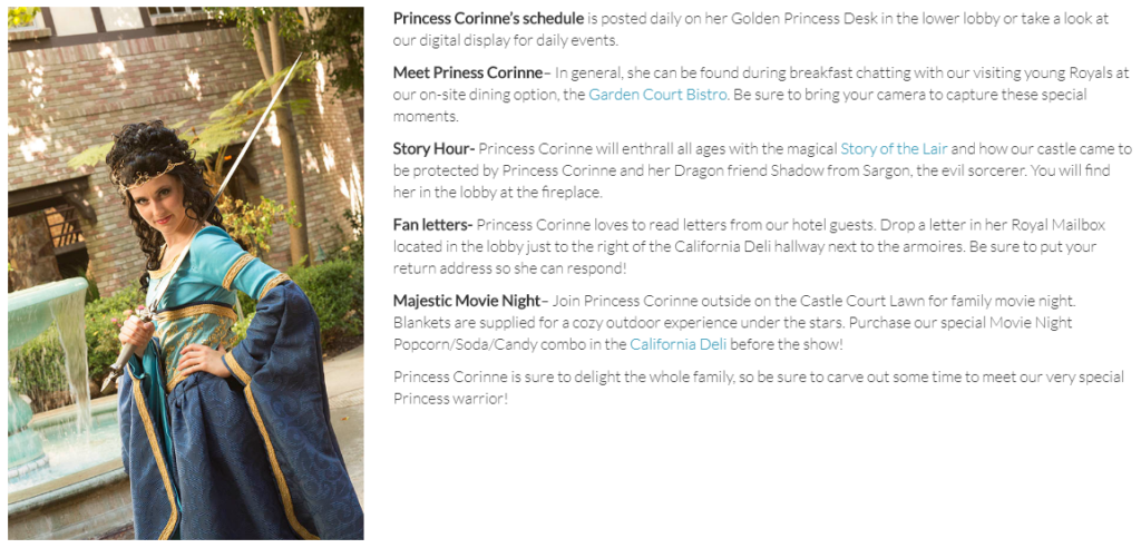 Majestic Garden Anaheim has its own Princess for guests to meet and interact with.